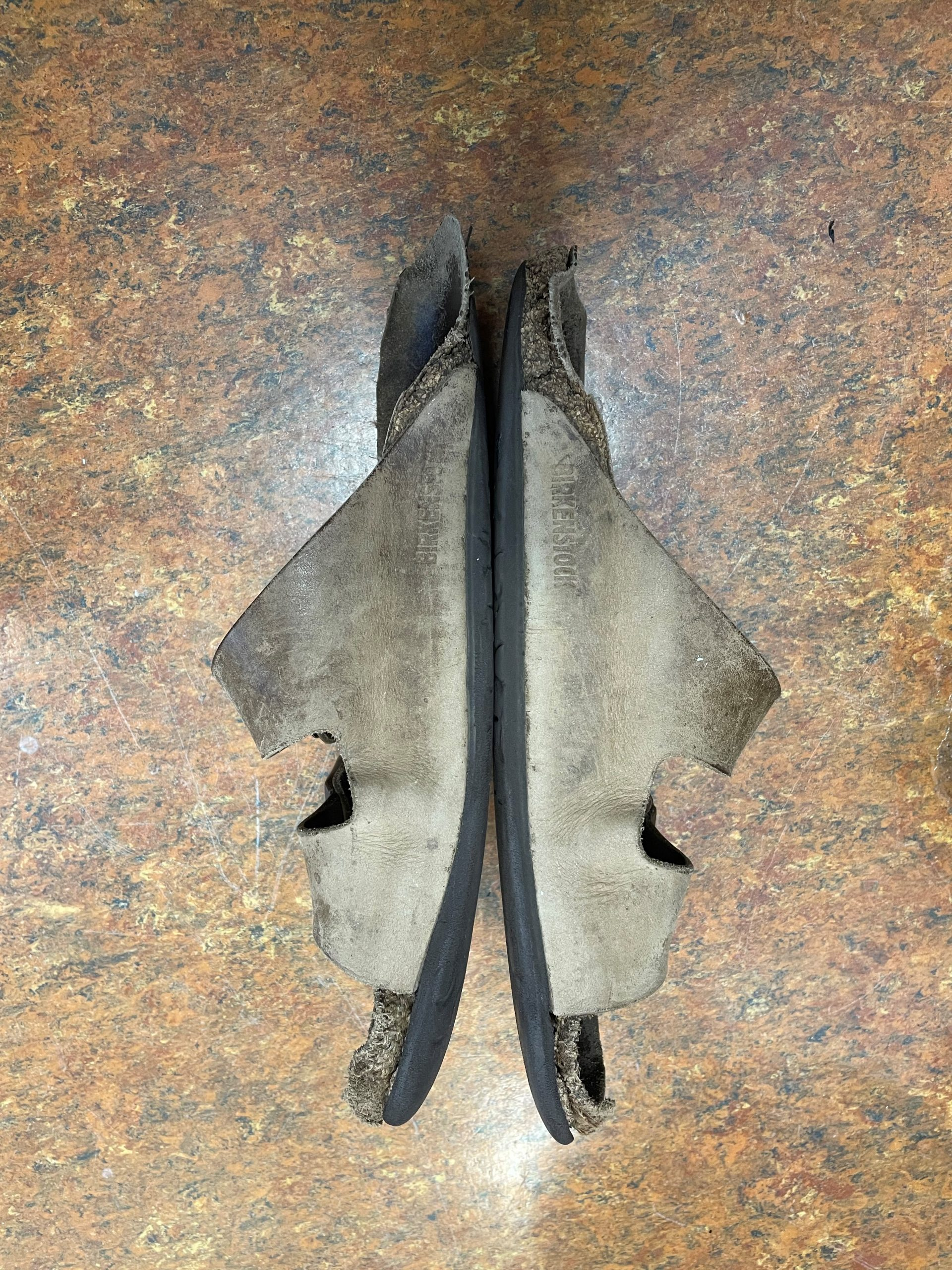 Upper and interior wear on worn out sandals